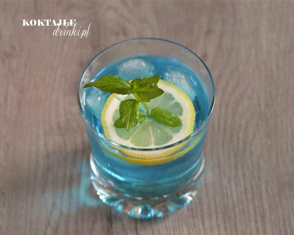 Błękitny drink Blue Gin w niskiej szklance z plasterkiem cytryny w środku z wsytającą gałązką mięty.