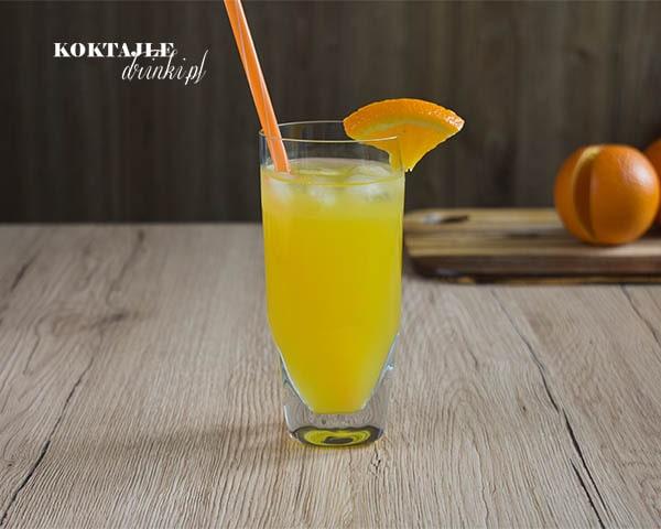 Drink z wódką Fat Hooker widziany od frontu na pomarańczową barwę i szklankę ozdobioną pomarańczą.