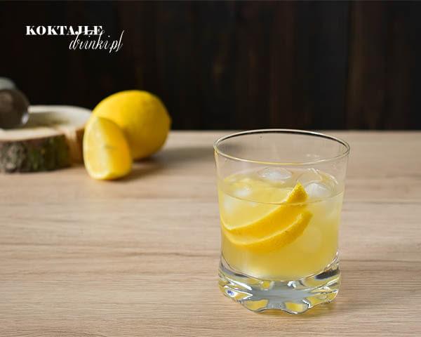 Drink whisky sour w ujęciu od frontu z dwoma plastrami cytryny w szklance.
