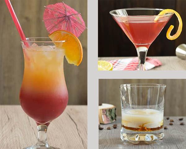 Trzy drinki wymienione w artykule widoczne na zdjęciu.